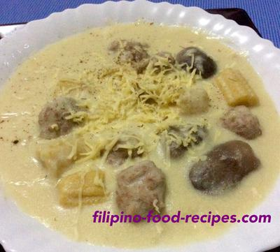 Beef Balls in Creamy Mushroom Soup