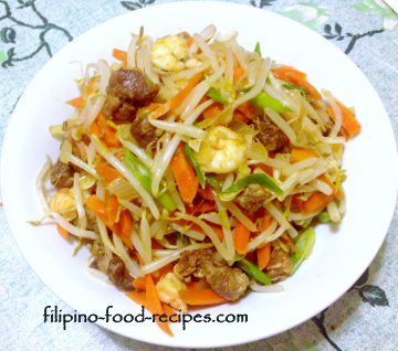 Filipino vegetable recipes togue guisado sauteed mungbean with carrots green onion and tofu forumfinder Images